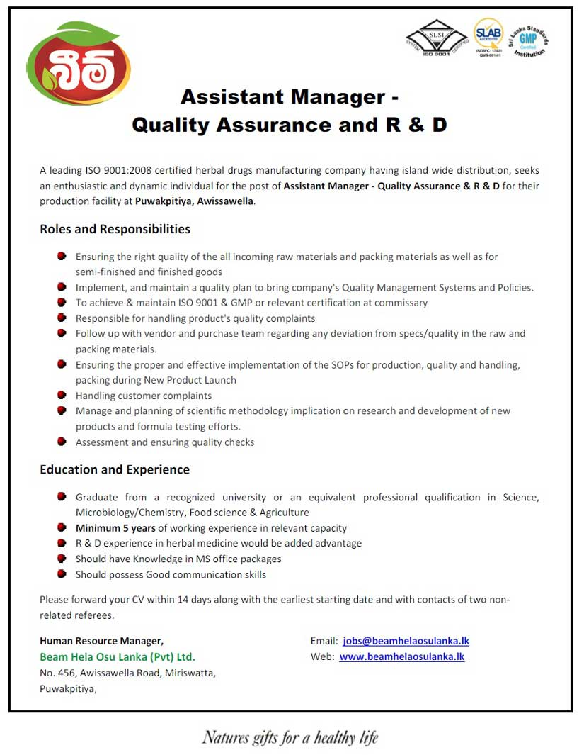 Assistant Manager - Quality Assurance and R Jobs in Sri Lanka - Job