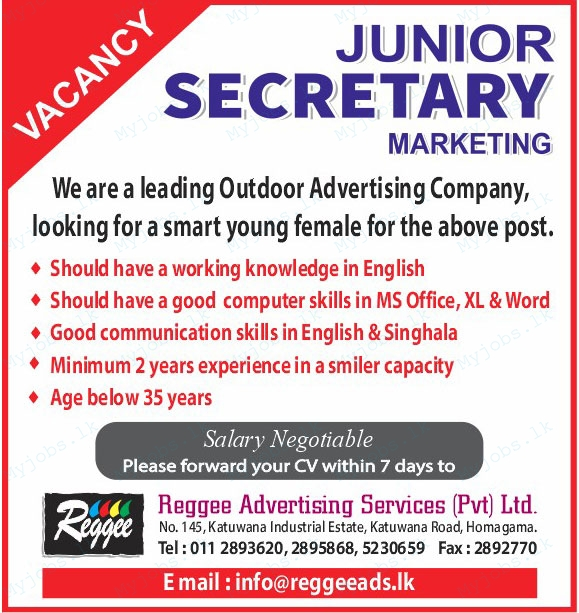 Junior Secretary - Marketing Jobs In Sri Lanka
