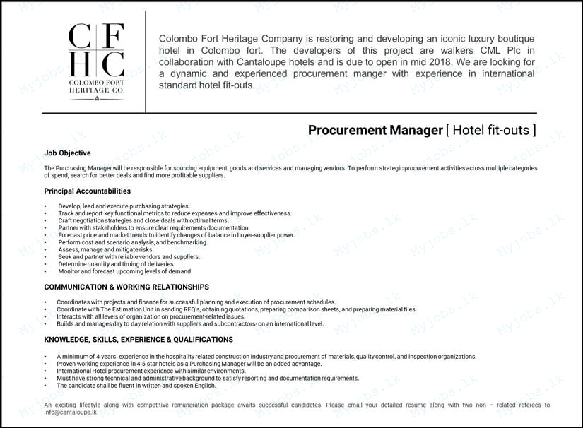 Procurement Manager Jobs In Sri Lanka  Job Vacancies In Colombo