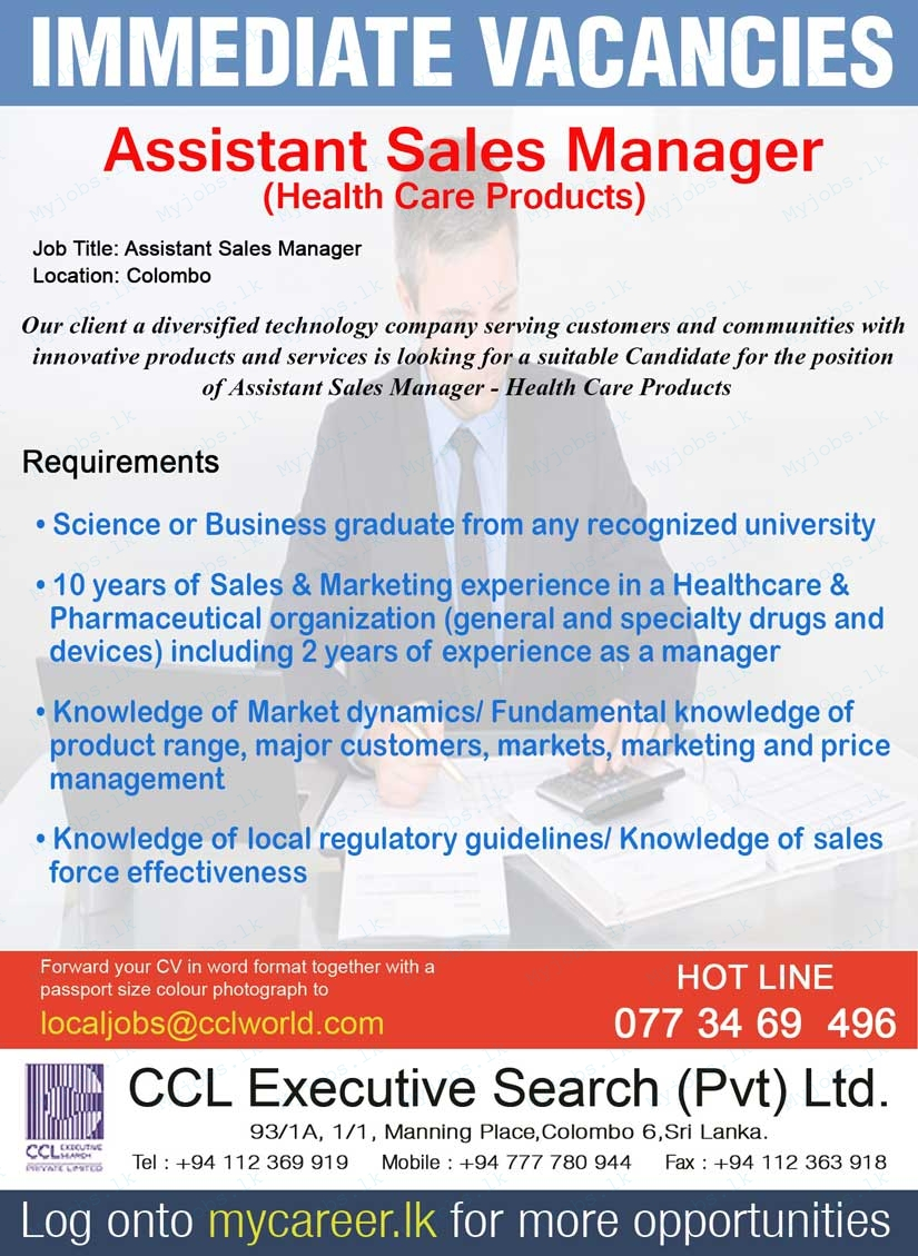 Assistant Sales Manager  Health Care Products  Jobs In Sri Lanka