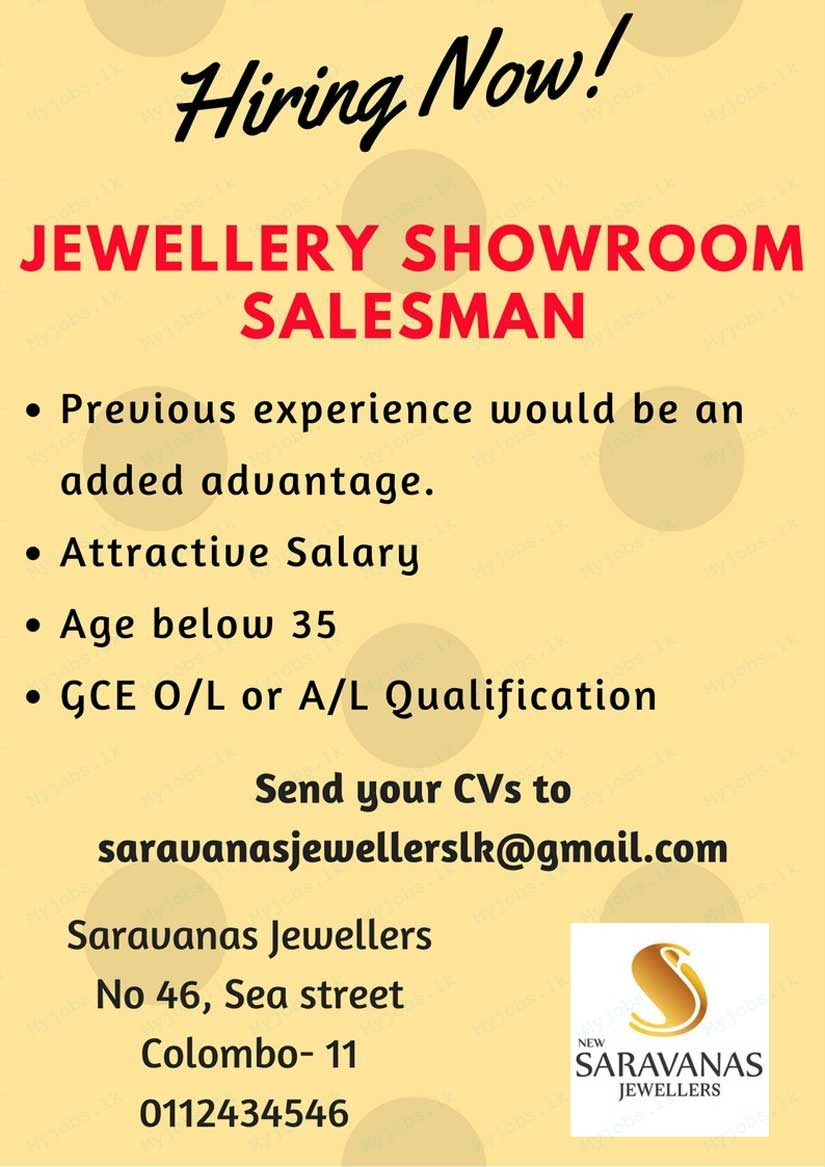 jewellery store salesman jobs in sri lanka