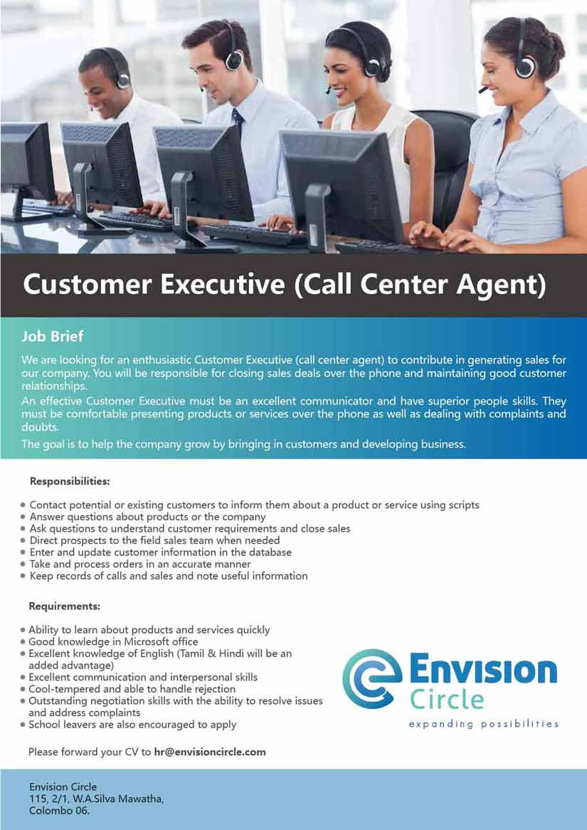 customer executive  call center agent jobs in sri lanka