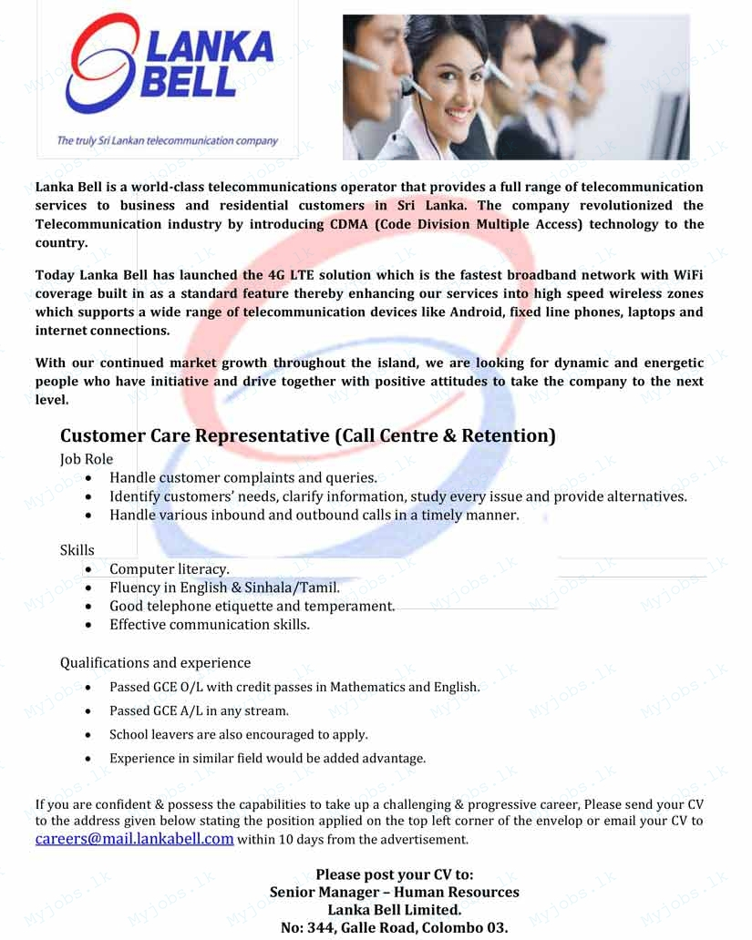 customer care representative  call centre  u0026 retention