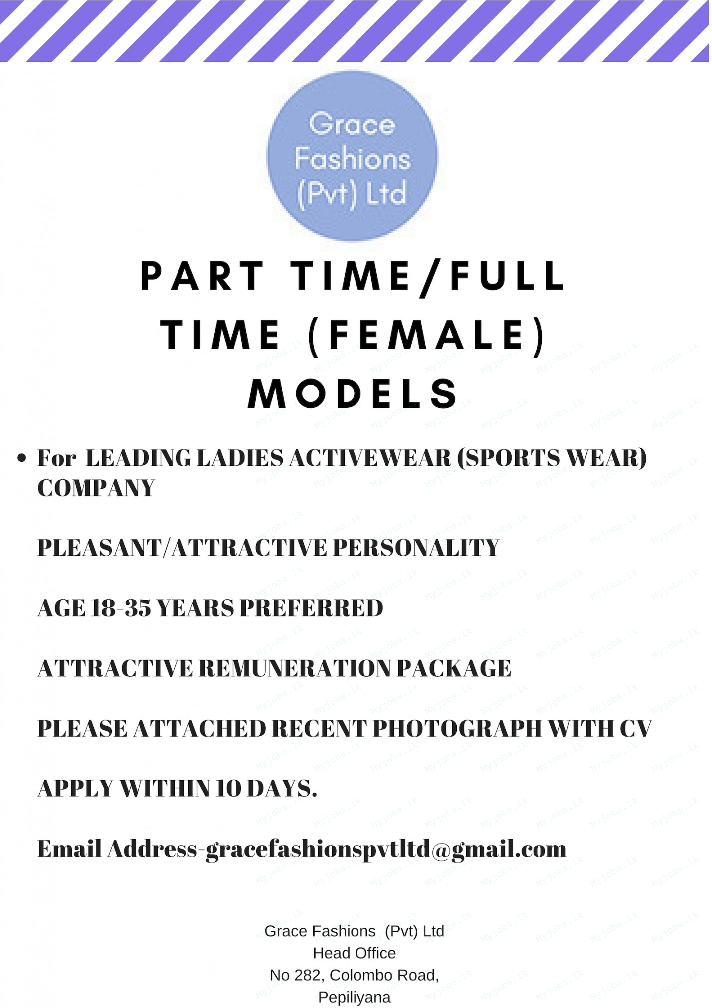 part time  full time  female  models jobs in sri lanka