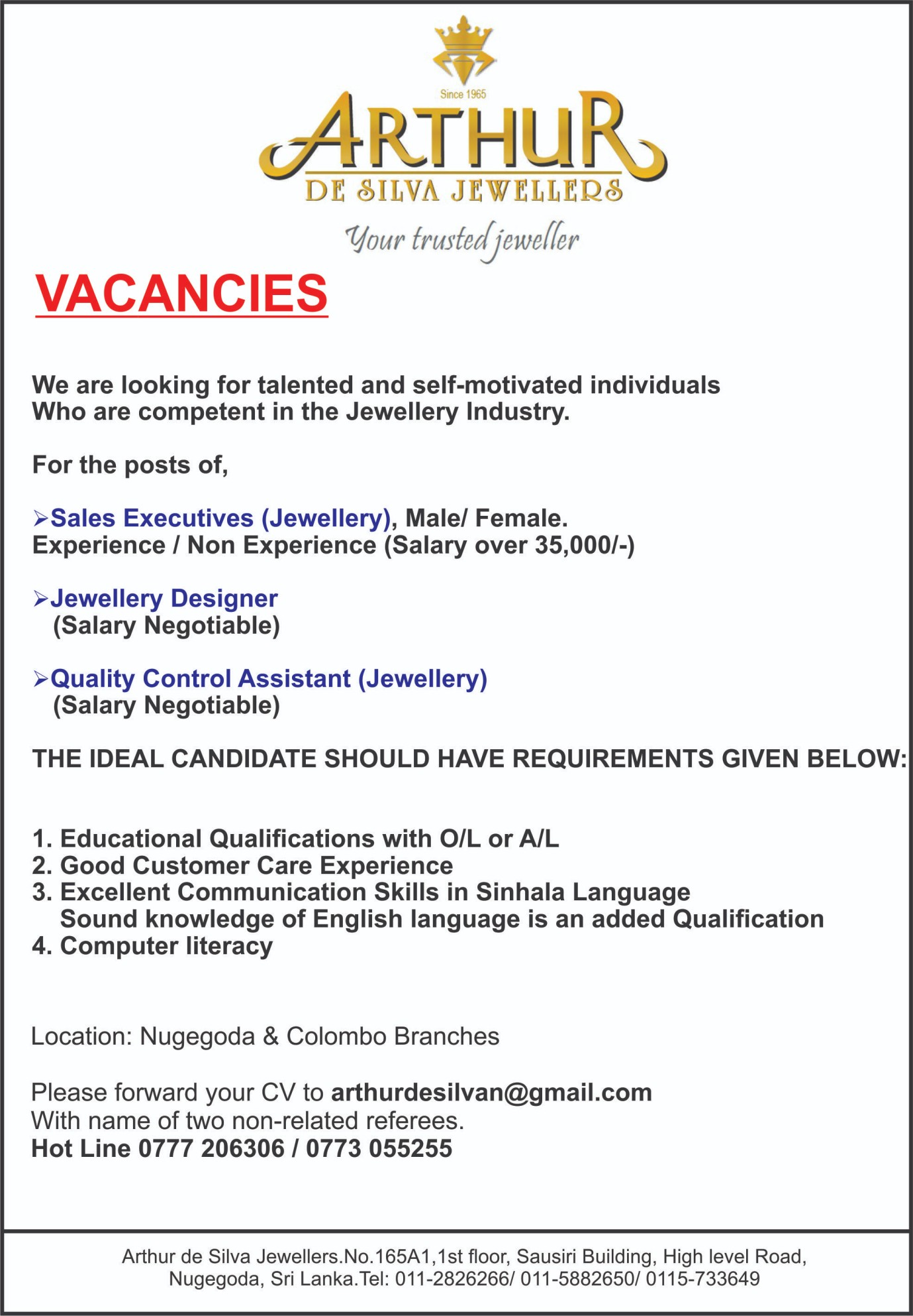 Sales Executive Jewellery Designer Quality Control Assistant